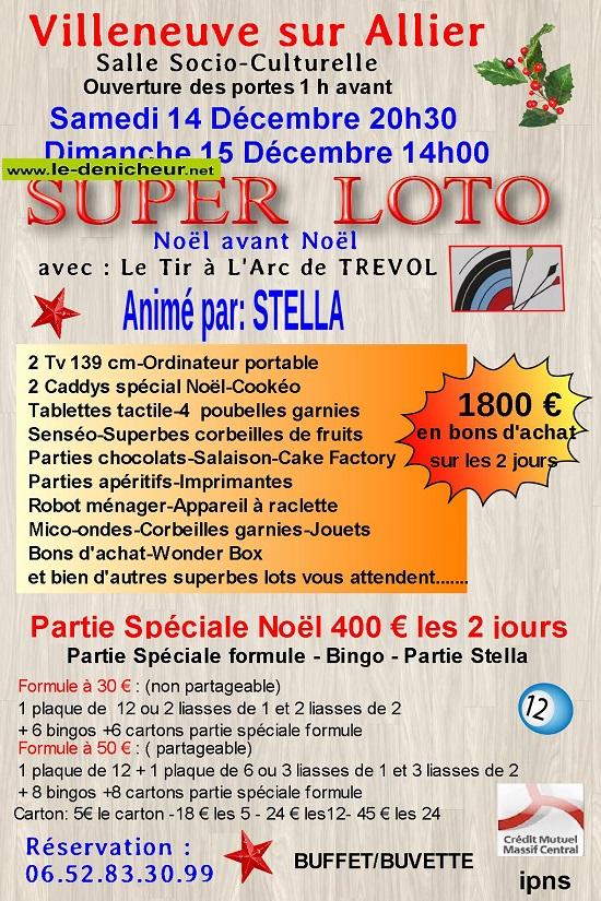 x14 - SAM 14 décembre - VILLENEUVE /Allier - Loto du Tir à l'Arc de Trévol */ 0011750
