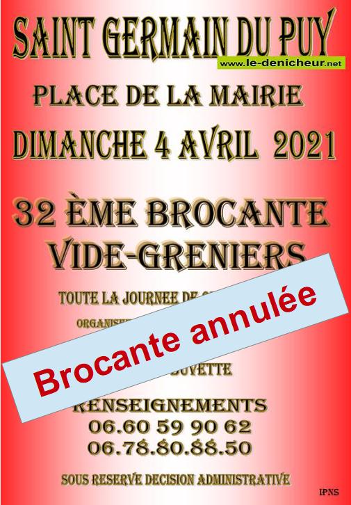 zp04 - DIM 04 avril - ST-GERMAIN DU PUY - Brocante du comité des fêtes annulée */ 0011824