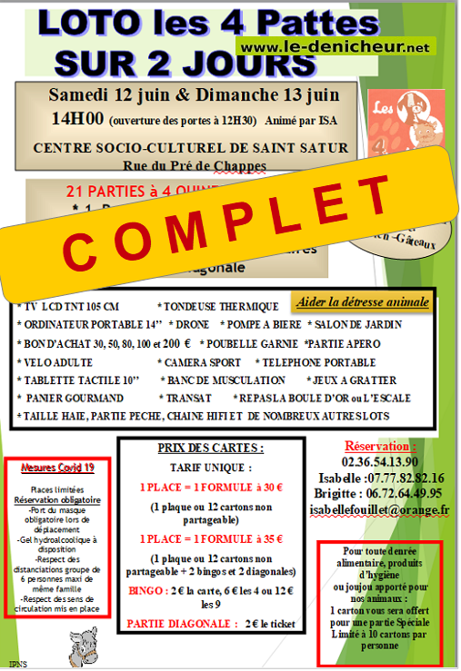 r13 - DIM 13 juin - ST-SATUR - Loto des 4 pattes **COMPLET*  */ 0011827
