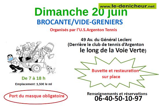 r20 - DIM 20 juin - ARGENTON /Creuse - Brocante du tennis * 0011836