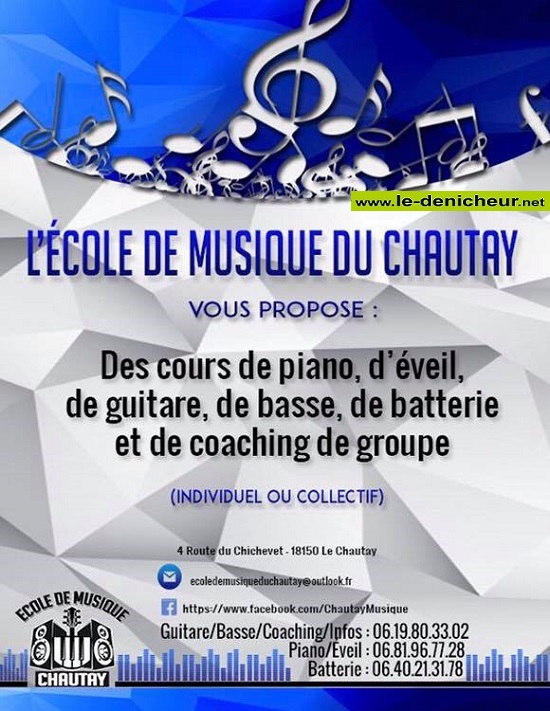 NOVEMBRE 2019 - LE CHAUTAY (18) - Cours de musique * 0011839