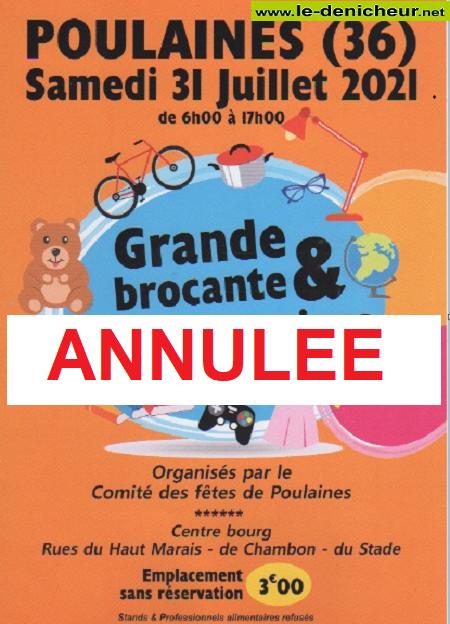 s31 - SAM 31 juillet - POULAINES - Brocante du comité des fêtes **annulée** 00118610