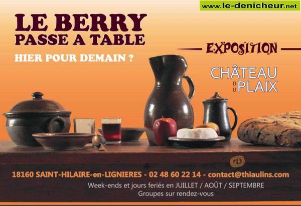 u26 - Jusqu'au 26 septembre - ST-HILAIRE en Lignières - Le Berry passe à Table (exposition) 0011871