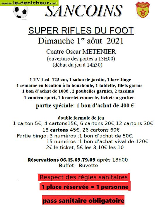 t01 - DIM 01 aout - SANCOINS - Rifles du foot */ 0011914
