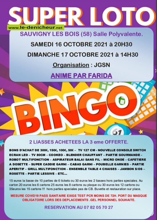 v17 - DIM 17 octobre - SAUVIGNY LES BOIS - Loto de JGSN  0012053