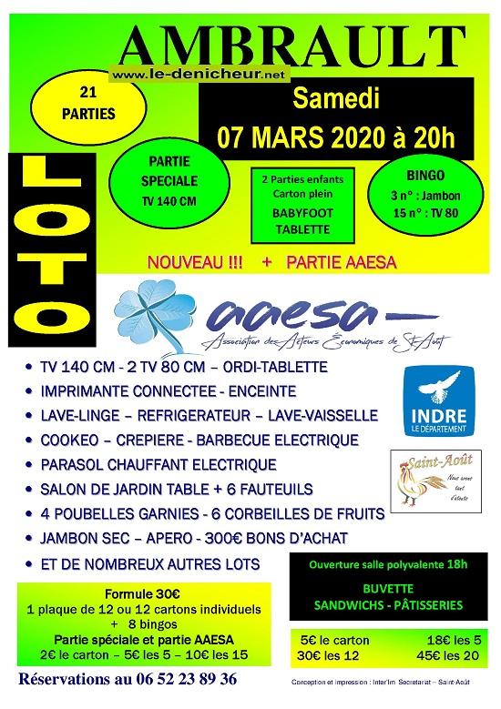 c07 - SAM 07 mars - AMBRAULT (36) - Loto de l'l'AAE de St-Août */ 0012105