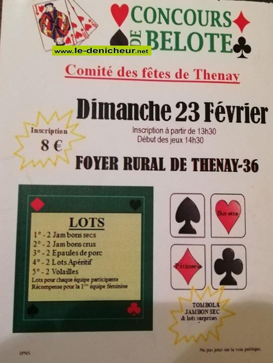 b23 - DIM 23 février - THENAY - Concours de belote .*/ 0012134
