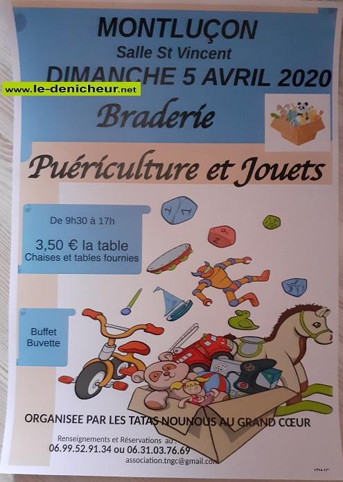 d05 - DIM 05 avril - MONTLUCON - Braderie puériculture et jouets annulée*/ 0012200