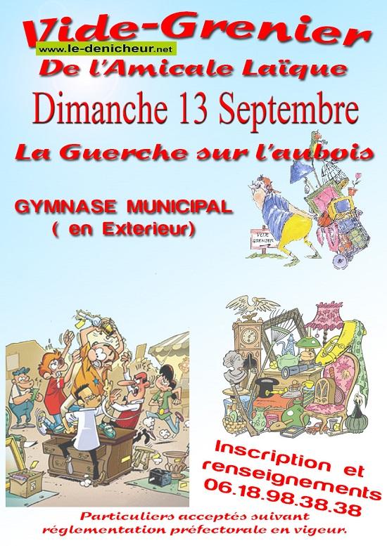 i13 - DIM 13 septembre - LA GUERCHE /l'Aubois - Brocante de l'Amicale laïque _* 0012205