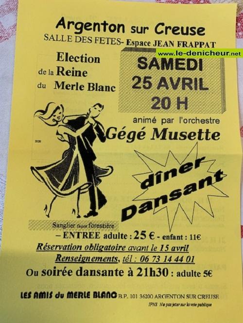 d25 - SAM 25 avril - ARGENTON /Creuse - Dîner dansant avec gégé Musette .*/ 0012231