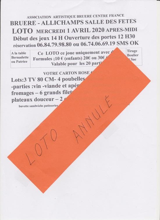 d01 - MER 01 avril - BRUERE-ALLICHAMPS - Loto annulé */ 0012243