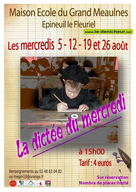 h05 - MER 05 août - EPINEUIL LE FLEURIEL - La dictée du mercredi * 0012365
