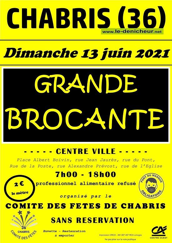 r13 - DIM 13 juin - CHABRIS - Brocante du comité des fêtes * 0012657