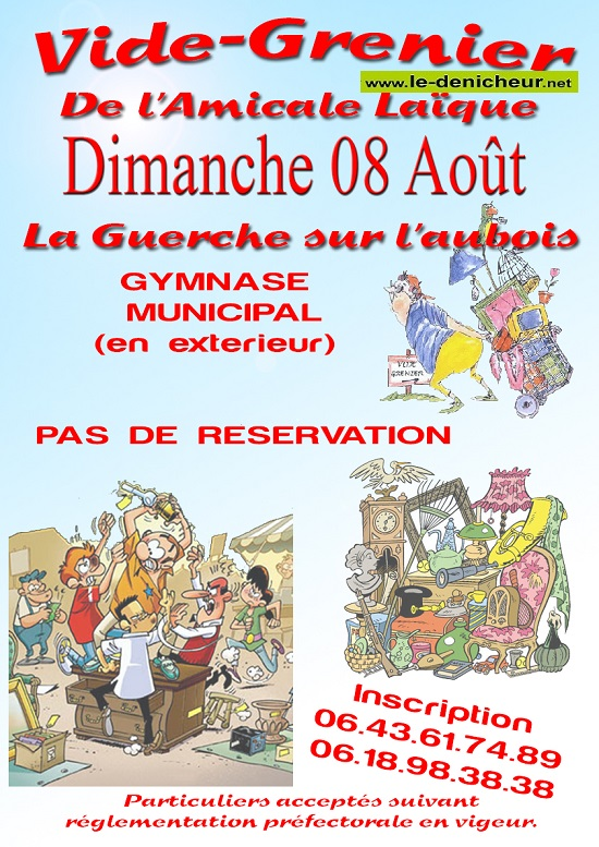 t08 - DIM 08 août - LA GUERCHE /L'Aubois - Brocante de l'Amicale Laïque _* 0012662