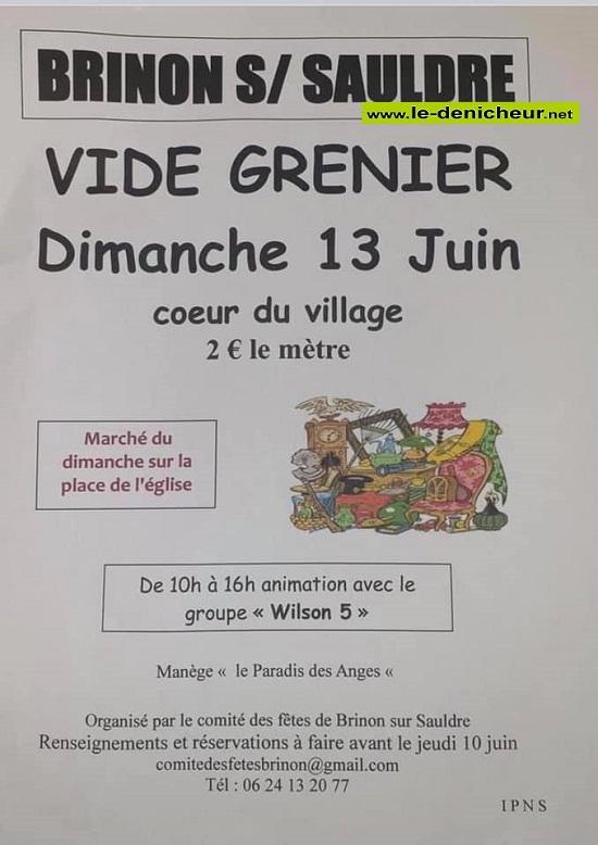 r13 - DIM 13 juin - BRINON /Sauldre - Brocante du comité des fêtes * 0012691