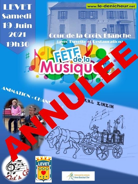r19 - SAM 19 juin - LEVET - Fête de la Musique **Annulée** 0012696