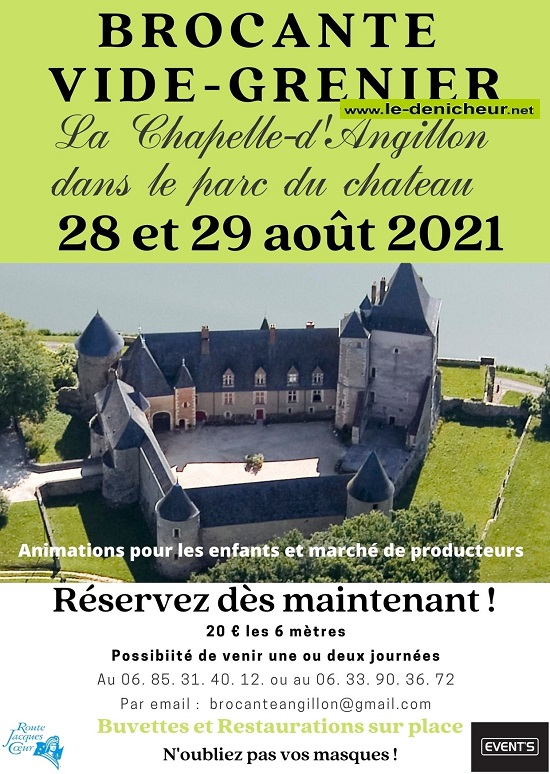 t29 - DIM 29 août - LA CHAPELLE D'ANGILLON - Brocante . Vide-grenier * 0012717