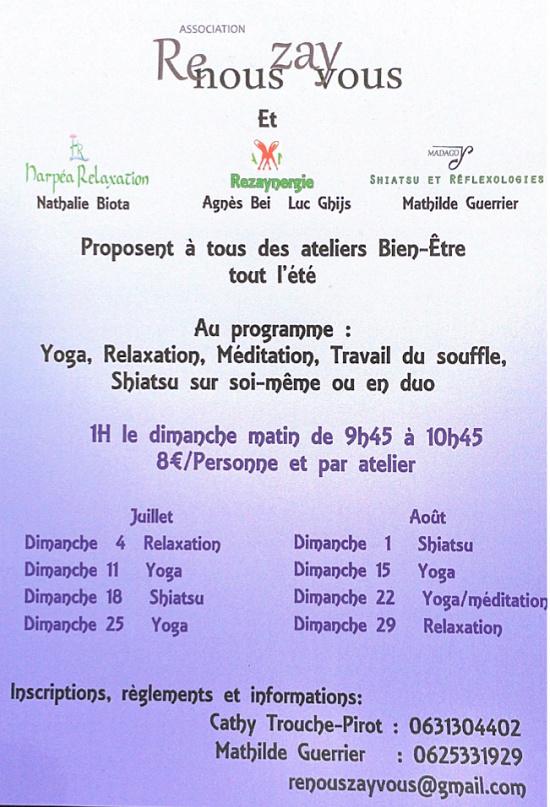 2021 - JUILLET / AOÛT  - REZAY - Ateliers bien-être _* 0012787