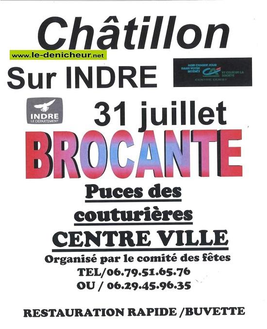 s31 - SAM 31 juillet - CHATILLON /Indre - Brocante du comité des fêtes **annulée** 0012796