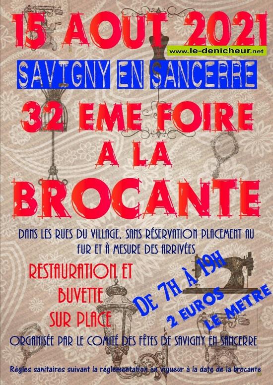 t15 - DIM 15 août - SAVIGNY en Sancerre - Brocante du comité des fêtes **annulée** _* 0012836