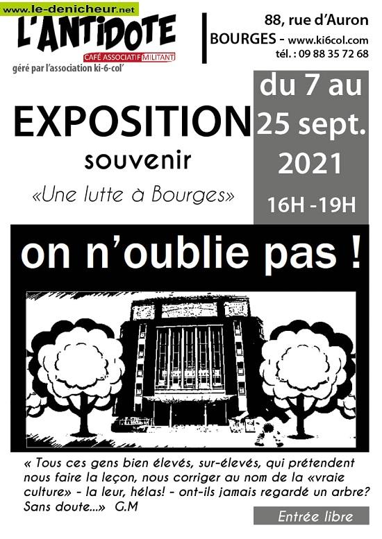 """u25 - Jusqu'au 25 septembre - BOURGES - Exposition souvenir """"Une lutte à Bourges"""" 0013049"""