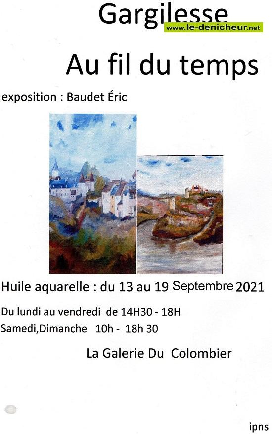 """u19 - Du 13 au 19 septembre - GARGILESSE - Exposition """"Au fil dutemps"""" _* 0013070"""
