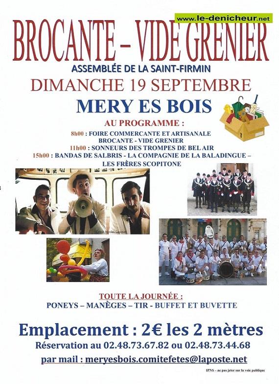 u19 - DIM 19 septembre - MERY ES BOIS - Brocante - Vide grenier 0013076