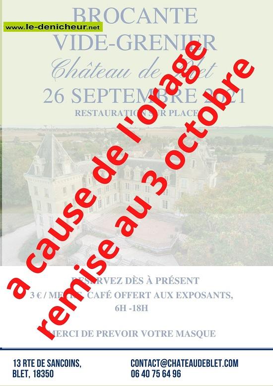 v26 - DIM 03 octobre - BLET - Brocante au château */ 0013144