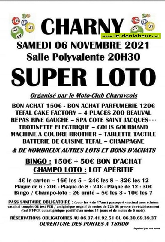 w06 - SAM 06 novembre - CHARNY - Loto du moto club 0013211