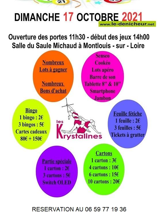 v17 - DIM 17 octobre - MONTLOUIS /Loire - Loto des Krystalines 0013215