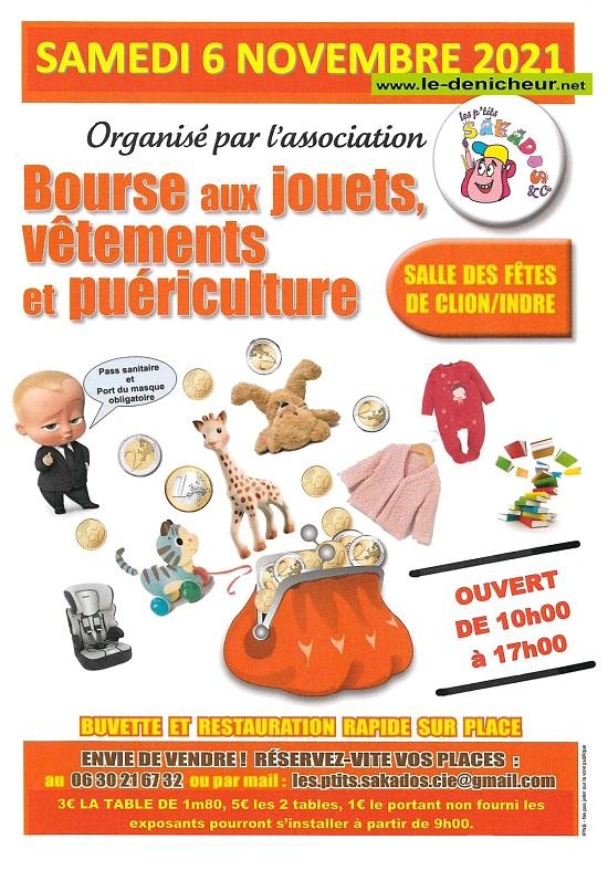 w06 - SAM 06 novembre - CLION /Indre - Bourse aux jouets, vêtements, puériculture * 0013223