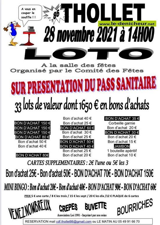 w28 - DIM 28 novembre - THOLLET - Loto du comité des fêtes _* 0013245