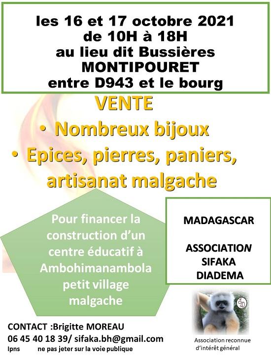 v16 - Les 16 et 17 octobre - MONTIPOURET - Vente expo pour Madagascar _* 0013251
