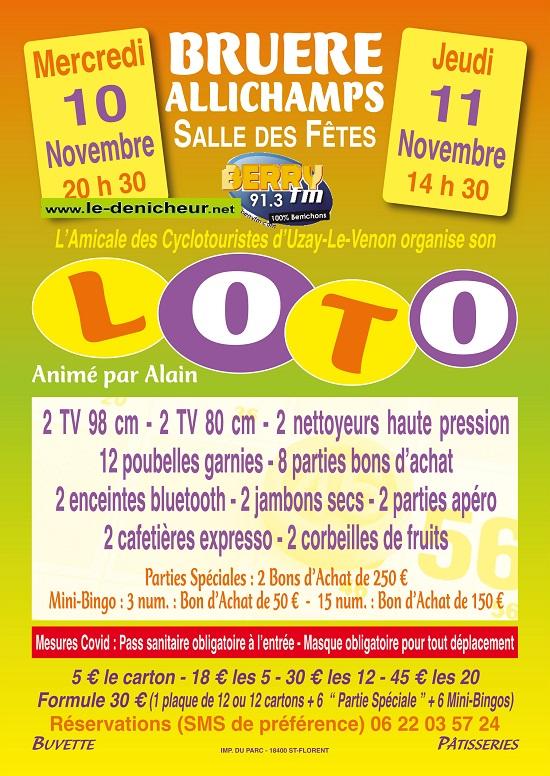 w11 - JEU 11 novembre - BRUERE-ALLICHAMPS - Loto des cyclotouristes d'Uzay */ 0013258