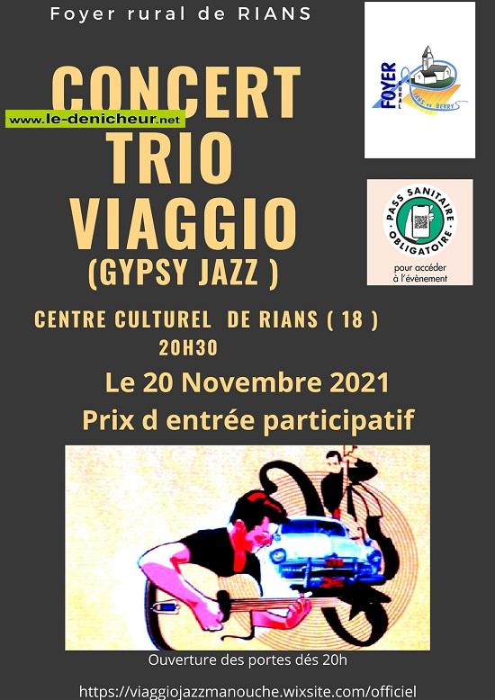 w20 - SAM 20 novembre - RIANS - Trio Viaggio en concert ((gypsy Jazz) */ 0013262