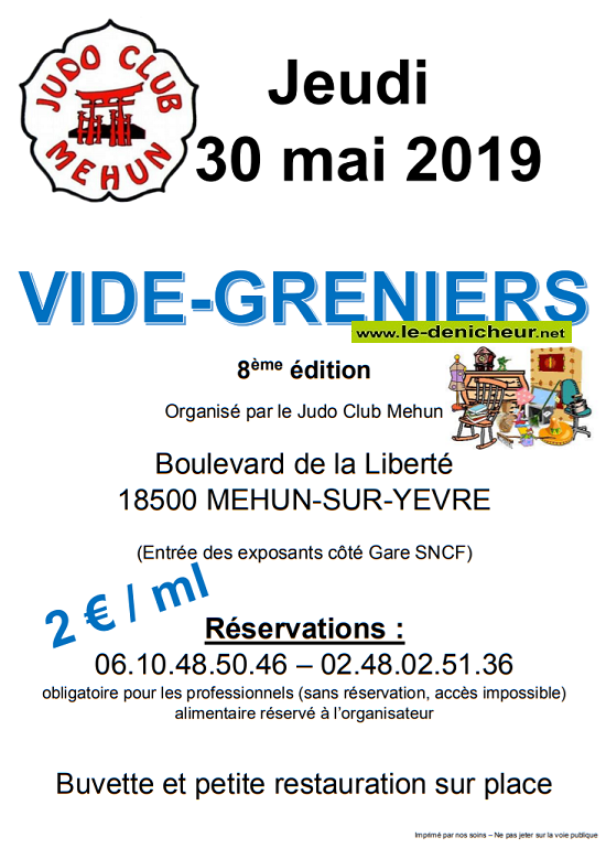 q30 - JEU 30 mai - MEHUN /Yèvre - Vide greniers du Judo .*/ 001610
