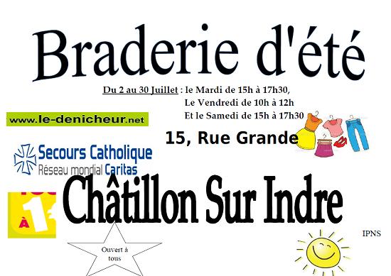 s16 - MAR 16 juillet - CHATILLON /Indre - Braderie du Secours Catholique _* 001874