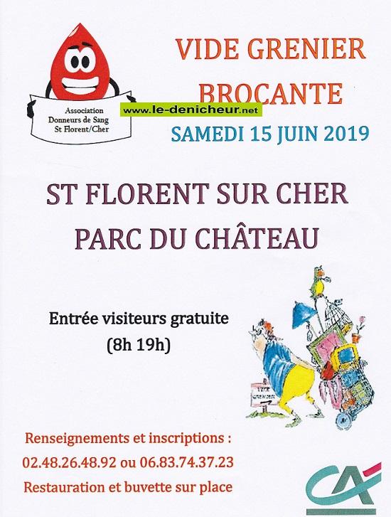 r15 - SAM 15 juin - ST-FLORENT /Cher - Brocante des donneurs de sang .*/ 001944