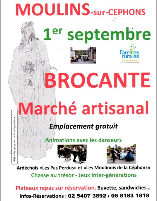 u01 - DIM 01 septembre - MOULINS /Céphons - Brocante de Familles rurales _* 002115