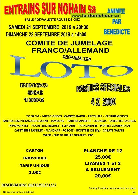u22 - DIM 22 septembre - ENTRAINS /Nohain - Loto du Jumelage */ 002195