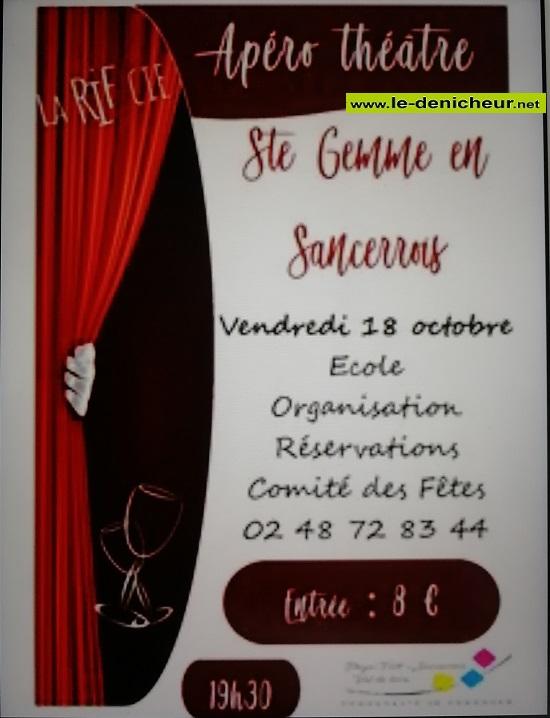 v18 - VEN 18 octobre - STE-GEMME EN SANCERROIS - Apéro théâtre .*/ 002199