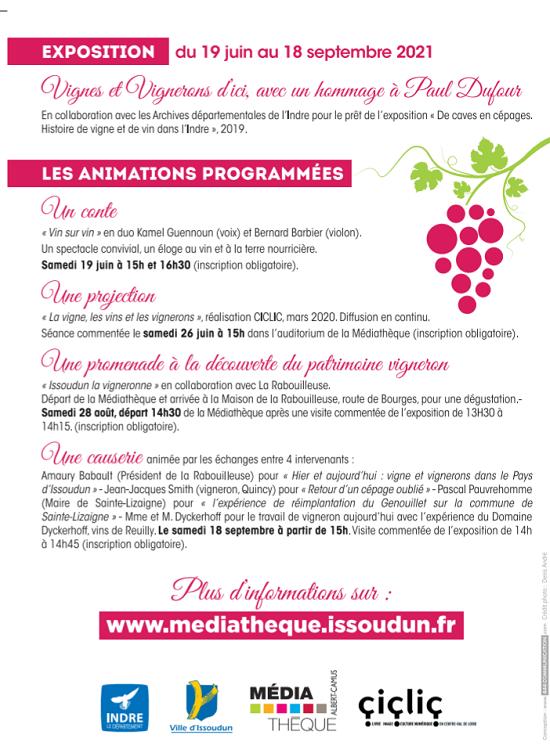 """u18 - Jusqu'au 18 septembre - ISSOUDUN - Exposition """"Vignes et vignerons d'ici"""" 002230"""