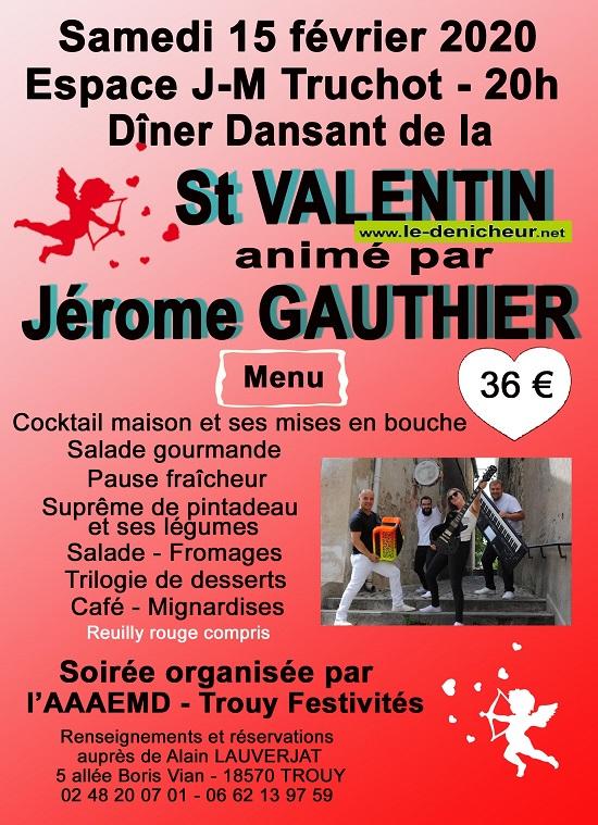 b15 - SAM 15 février - TROUY - Dîner dansant de St-Valentin avec Jérôme Gauthier .*/ 002258