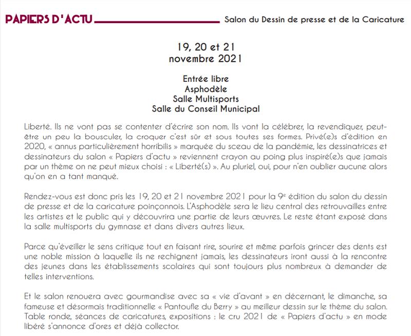 w19 - Du 19 au 21 novembre - LE POINCONNET - Salon du dessin de presse de la caricature 002273