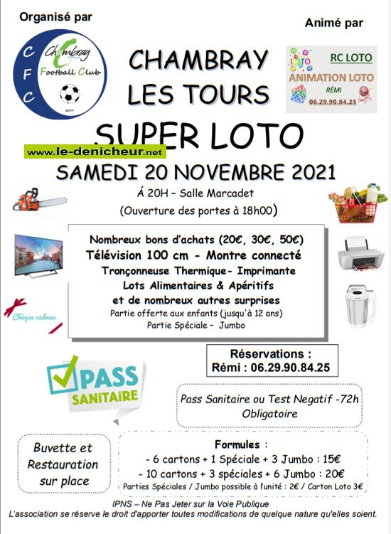 w20 - SAM 20 novembre - CHAMBRAY LES TOURS - Loto du foot _* 002277