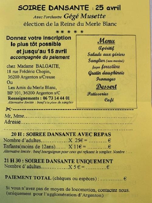 d25 - SAM 25 avril - ARGENTON /Creuse - Dîner dansant avec gégé Musette .*/ 002282