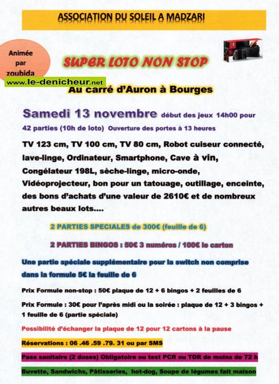 """w13 - SAM 13 novembre - BOURGES - Loto de """"Soleil à Madzari"""" */ 002285"""