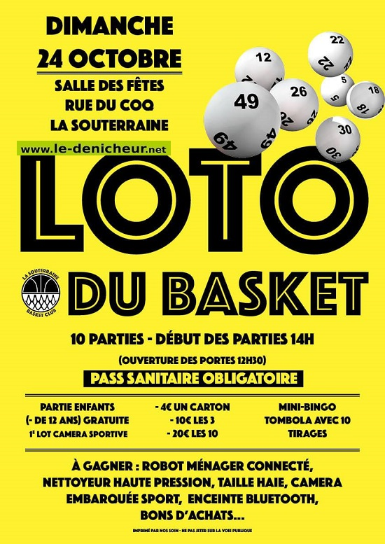 v24 - DIM 24 octobre - LA SOUTERRAINE - Loto du basket _* 002560