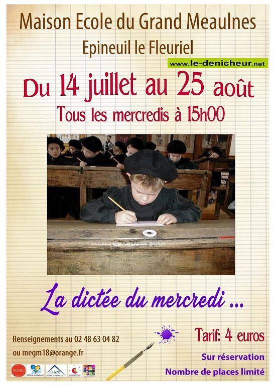t04 - MER 04 août - EPINEUIL LE FLEURIEL - La dictée du mercredi * 003137