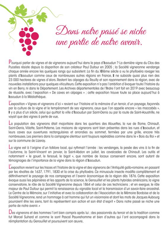 """u18 - Jusqu'au 18 septembre - ISSOUDUN - Exposition """"Vignes et vignerons d'ici"""" 00357"""